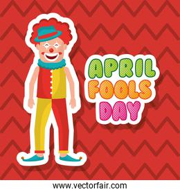 smiling clown april fool day happy greeting card