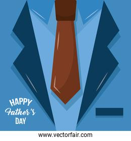 happy fathers day lettering on suit necktie design