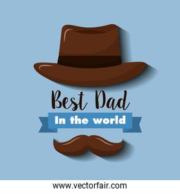 best dad in the world invitation card hat and mustache