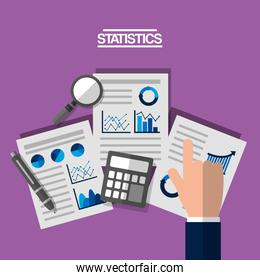 hand with business analyst paper with charts and diagrams magnifying glass calculator