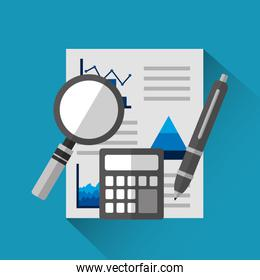 financial document with graphs and charts calculator magnifier pen business report analysis research