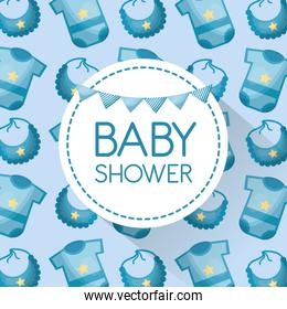 baby shower card with blue clothes and bibs pattern