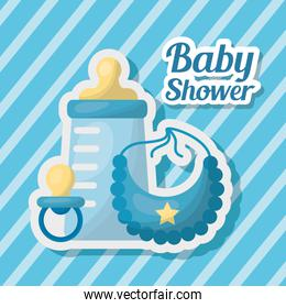 baby shower card with milk bottle and icons
