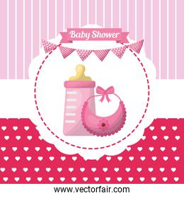 baby shower card with milk bottle and garlands
