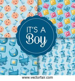 baby shower card with its a boy in lace and patterns