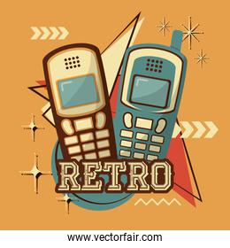 cellphones technology retro vintage design
