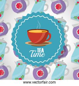 tea time - teacup on dish label and teapots background