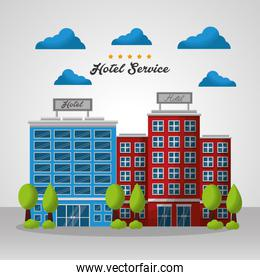 hotel building taxi and suitcase