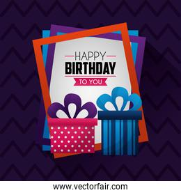 happy birthday card purple with gift boxes