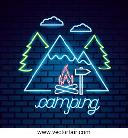 camping summer relate vector ilustration