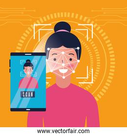 smartphone woman face scan recognition biometric