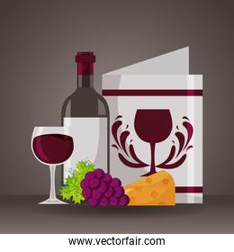 wine bottle restaurant menu cheese grapes cup