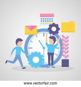 businessmen with clock time