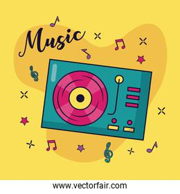 turntable vinyl record music colorful background
