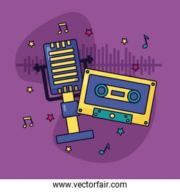 microphone retro cassette music colorful background