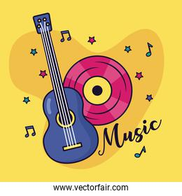 guitar and vinyl record music colorful background
