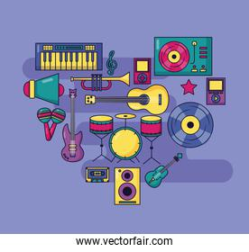 music colorful background instruments devices icons