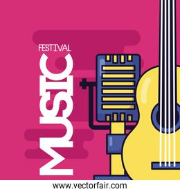 microphone and guitar music festival
