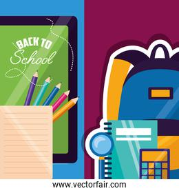 back to school supplies flat design