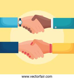 flat design people business handshake