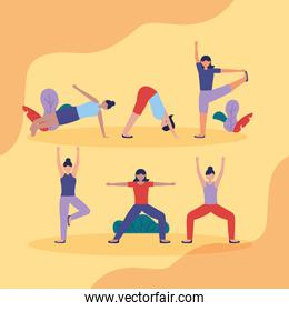 people yoga outdoor flat design image