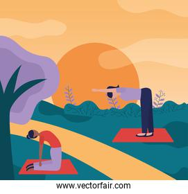 yoga outdoor flat design image