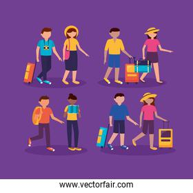 people and travel flat design