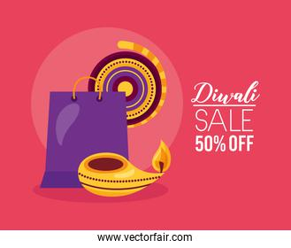 diwali sale banner with shopping bag and candles