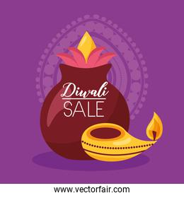 diwali sale card with candles celebration icon