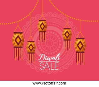 diwali sale banner with lamps hanging