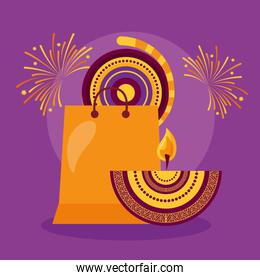happy diwali card with shopping bag and candles