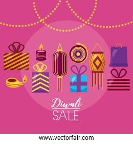 diwali sale card with lamps hanging celebration icon