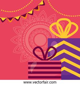 happy diwali card with gifts celebration icon