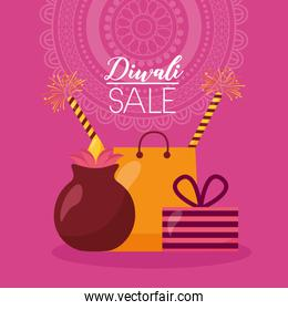 diwali sale card with shopping bag and candles