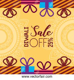 diwali sale card with gifts celebration icon