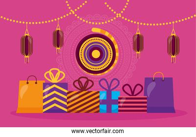 happy diwali card with gifts and lamps hanging