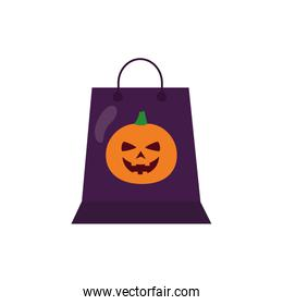 halloween pumpkin with face in shopping bag