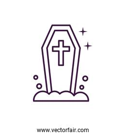 halloween coffin with cross icon