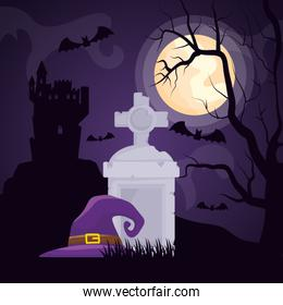 halloween dark cemetery scene with witch hat