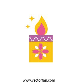 happy diwali celebration candle with flower