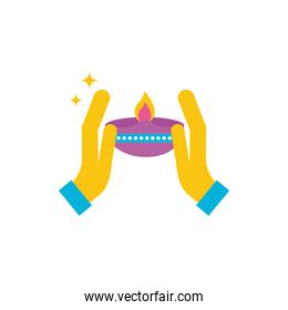 happy diwali celebration candle with hands