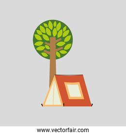 camp design with tree and object