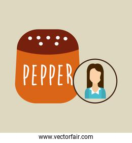 pepper shaker cook icon woman