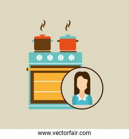 pot and stove cooking kitchen icon woman