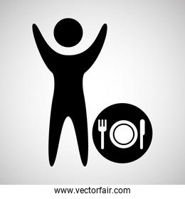 man with sign restaurant icon