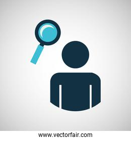 silhouette blue man search look design icon