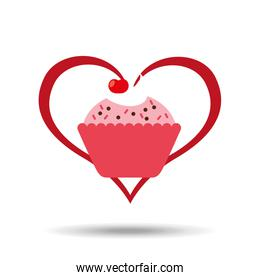 heart cartoon sweet cup cake pink chips and cherry icon design