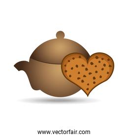 pot coffee cookie heart bakery icon design graphic