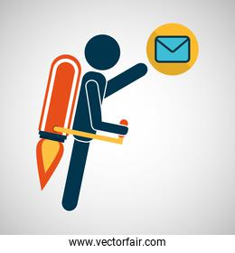 growth concept business icons email envelope