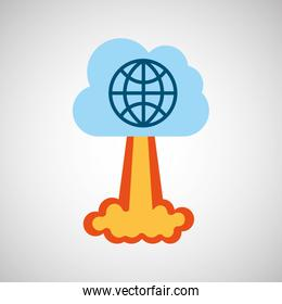 start up business globe connected graphic isolated
